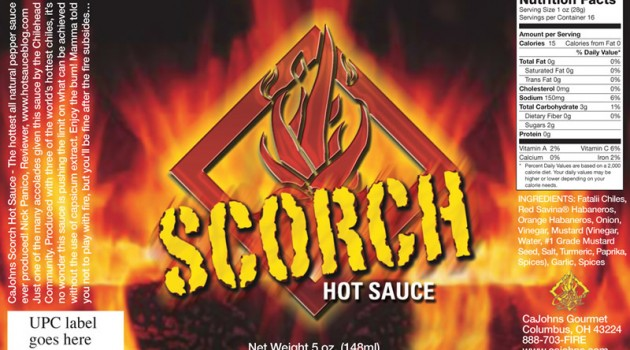 Scorch Hot Sauce Label