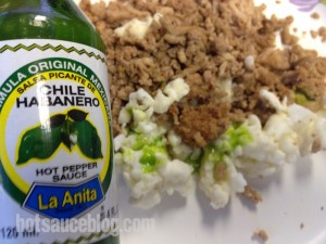 La Anita Green Chile Habanero Hot Sauce On Food